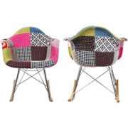2xhome - Single (1) - Multi-color - Modern Upholstered Eames Style Armchair Fabric Chair Patchwork Multi-pattern Rocker Chrome Steel Eiffel Base Nursery Living Room by 2xhome