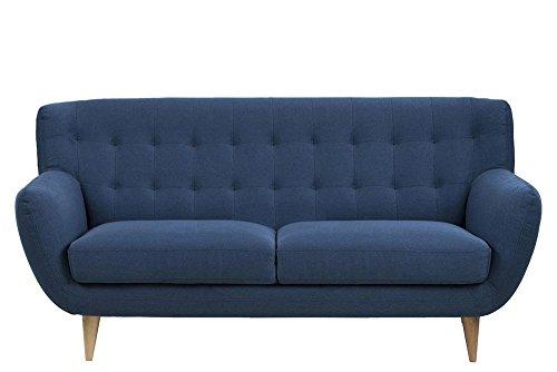 3 sitzer sofa in dunkelblauem webstoff knopfsteppung 2 sitzkissen naturbelassene. Black Bedroom Furniture Sets. Home Design Ideas