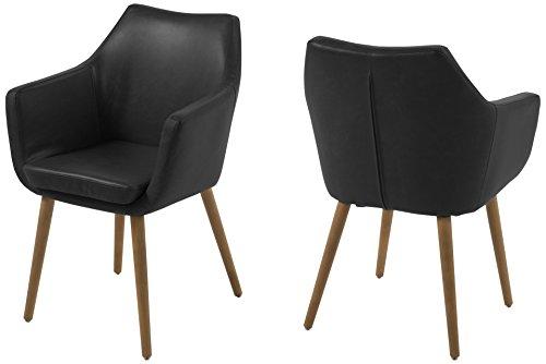 AC Design Furniture 0000056835 Armstuhl Trine, 58 x 58 x 84 cm, Sitz, Rücken lederlook vintage schwarz, Gestell Holz, Eiche, Ölbehandelt