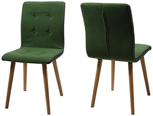 AC Design Furniture H000014096 Esszimmerstuhl 2-er Set Charlotte, Sitz/Rücken Seiten dunkelgrau, Knöpfen und Stoff, grün by AC Design Furniture