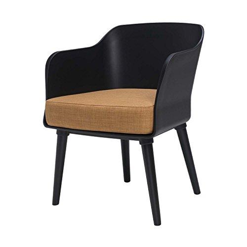 BUTIK Design Esszimmerstuhl Sax - Maße 77x61x49 cm - Sitzkissen aus hochwertiger Baumwolle (schwarz/braun)