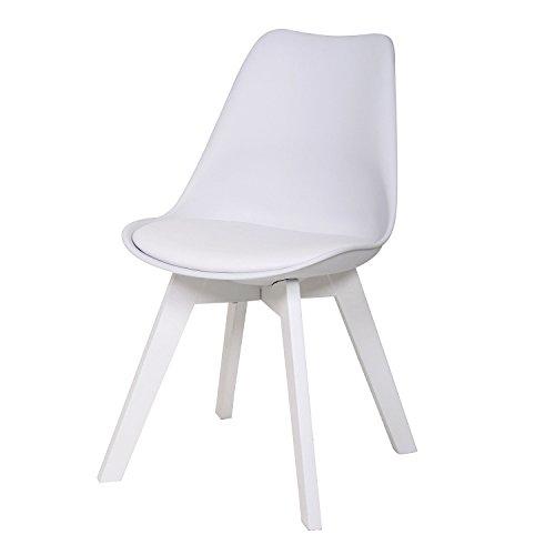 BUTIK FL20363-4 Angebot 4-er Set Moderner Design Esszimmerstuhl Consilium Valido Uni, Eichenholz lackiert, 83 x 48 x 39 cm, weiß