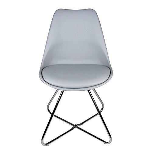BUTIK Moderner Esszimmerstuhl Consilium Tove - Maße 83x48x39 cm - Sitzkissen aus hochwertigem Kunstleder - Untergestell aus verchromtem Stahl (Grau)
