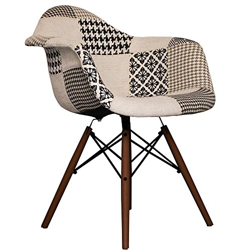 black and white fabric daw eames style chair with walnut legs retro stuhl. Black Bedroom Furniture Sets. Home Design Ideas