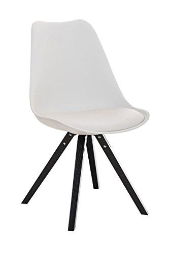CLP Design Retro Stuhl PEGLEG SQUARE mit Holzgestell schwarz, Materialmix Kunststoff, Kunstleder, Holz weiß