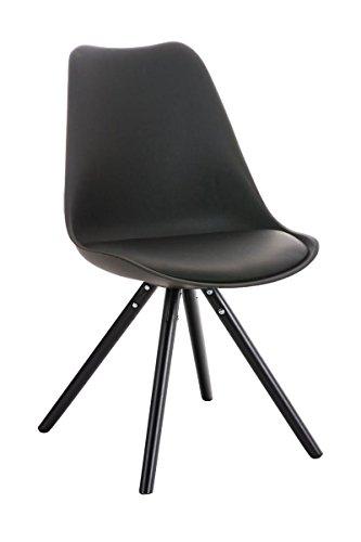 Clp design retro stuhl pegleg mit holzgestell schwarz materialmix aus kunststoff kunstleder - Stuhl holz schwarz ...