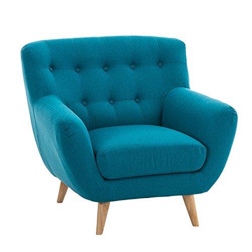 CLP Polster-Sessel RIHANNA mit Stoffbezug, stilvolle Zierknöpfe und dicke Polsterung, langlebiger Sitzkomfort blau