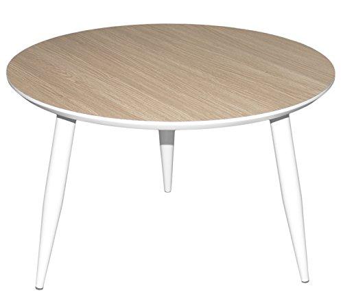 Couchtisch Beistelltisch Dreibeiner | runde Platte aus MDF | 60cm | Tischbeine aus massiv Holz | weiß - Eiche