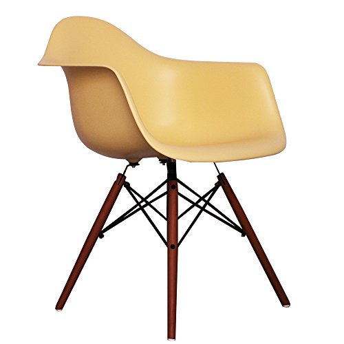 cream eames style daw chair with walnut legs retro stuhl. Black Bedroom Furniture Sets. Home Design Ideas