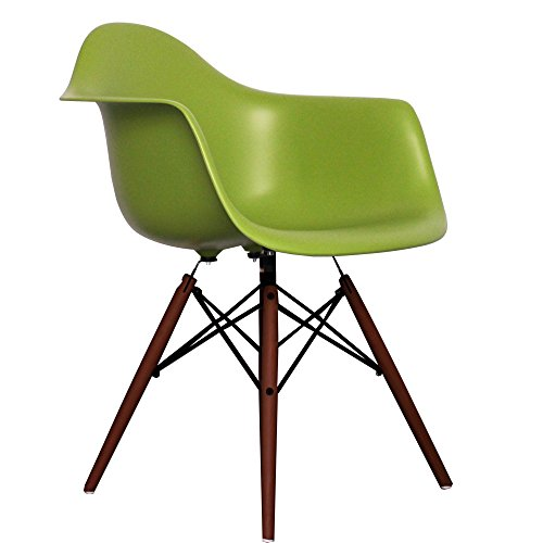 green eames style daw chair with walnut legs retro stuhl. Black Bedroom Furniture Sets. Home Design Ideas