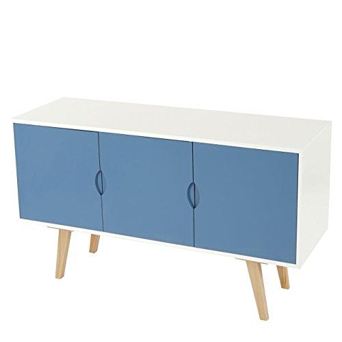 Kommode Malmö T258, Schrank Sideboard, Retro-Design 70x120x40cm ~ blaue Front