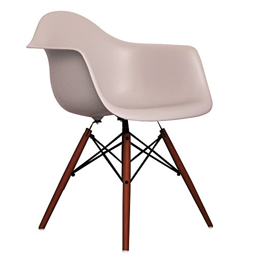 light grey eames style daw chair with walnut legs retro stuhl. Black Bedroom Furniture Sets. Home Design Ideas