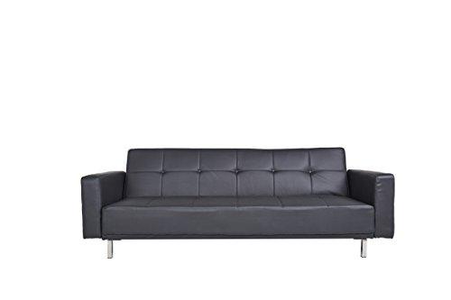 Luis Schlafcouch Kunstleder schwarz Schlaffunktion Sofa