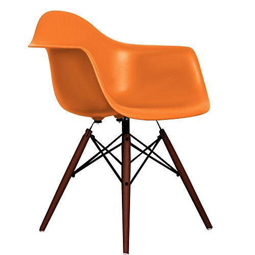 new orange eames style daw chair with walnut legs retro stuhl. Black Bedroom Furniture Sets. Home Design Ideas