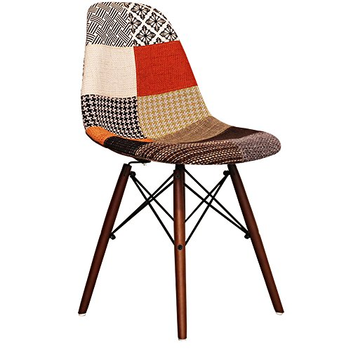 patchwork eames style dsw chair with walnut legs retro stuhl. Black Bedroom Furniture Sets. Home Design Ideas