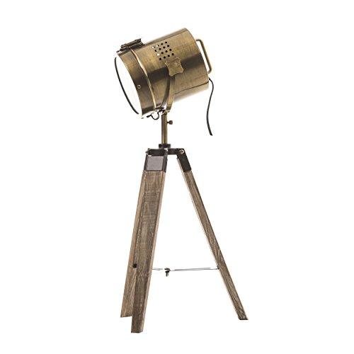 Projektor-Lampe aus Metall im Kupferstil - Dreifuß aus Holz - VINTAGE RETRO