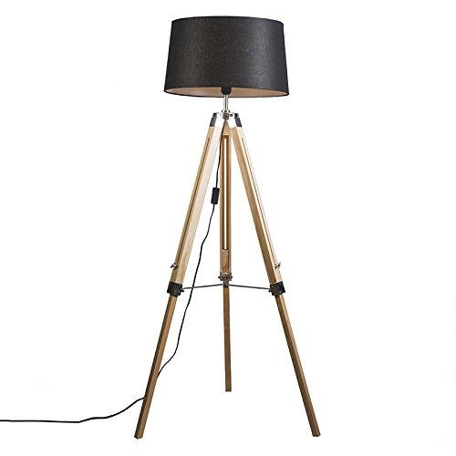 QAZQA Design,Industrie,Retro Stehleuchte Tripod natur mit Schirm 45cm leinen schwarz Holz,Metall,Textil Länglich / LED geeignet E27 Max. 1 x 40 Watt