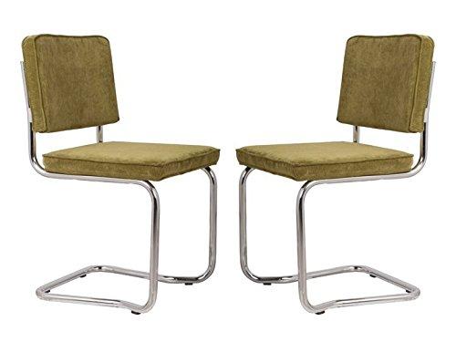 RIDGE KINK RIB Stühle Esszimmer Büro Freischwinger 2er Set Zuiver Grün