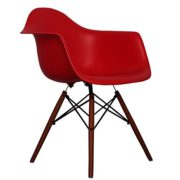 Red Eames Style DAW chair with walnut legs