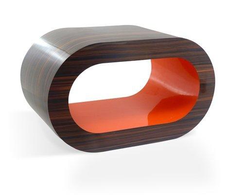 Retro Gestreiften Walnuss Und Orange Reifen Couchtisch / TV-Ständer In Verschiedenen Größen