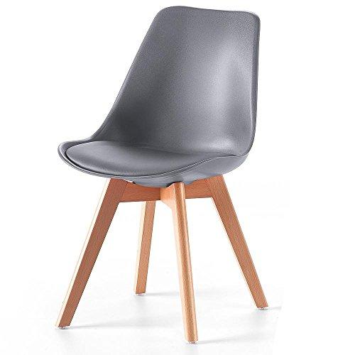 Retro stuhl lucian b 2er set mca grau kunstleder for Kunstleder stuhl grau