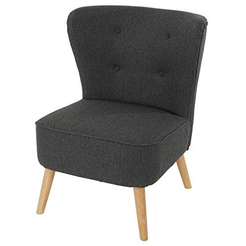Sessel Malmö T313, Loungesessel Polstersessel, Retro 50er Jahre Design ~  anthrazit, Textil