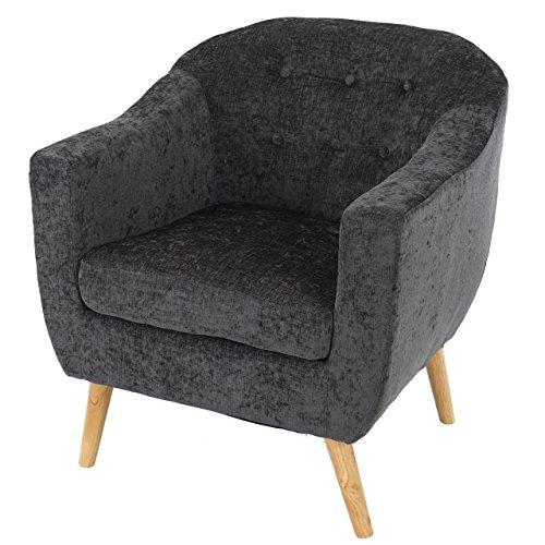 Sessel Malmö T314, Loungesessel Polstersessel, Retro 50er Jahre Design ~ grau, Textil