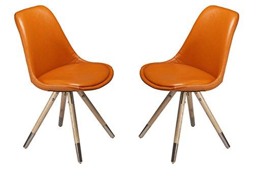 Stuhl Orso (2er-Set) - Leder Orange - Eiche Natur mit Edelstahl by DanForm
