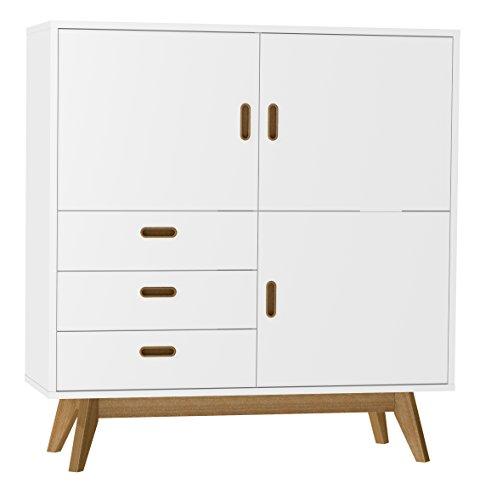 Tenzo 2166-001 Bess Designer Schrank / Highboard, 120 x 114 x 43 cm, weiß / eiche