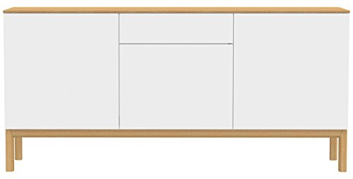 Tenzo 2275-454 Patch Designer Sideboard, lackiert, Matt, Topplatte furniert, Untergestell massiv, 85 x 179 x 47 cm, weiß / eiche
