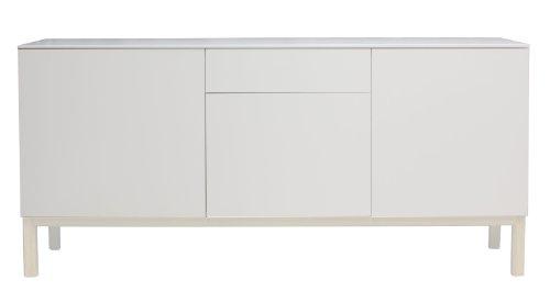 Tenzo 2275-477 Patch - Designer Sideboard, lackiert, matt, Untergestell Eiche massiv, weiß gebeizt, 85 x 179 x 47 cm (HxBxT)