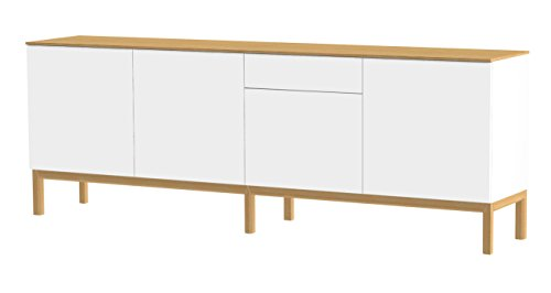 Tenzo 2285-454 Patch Designer Sideboard, lackiert, Matt, Topplatte furniert, Untergestell massiv, 85 x 238,5 x 47 cm, weiß / eiche