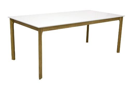 Tenzo 2380-001 More - Designer Esstisch, weiß, Tischplatte MDF lackiert, matt, Untergestell Eiche massiv, 75 x 190 x 95 cm (HxBxT)