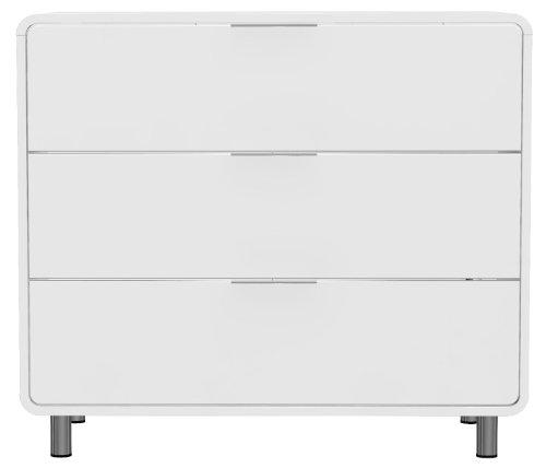 Tenzo 8423-001 Step - Designer Kommode weiß, MDF lackiert matt, Griffe und Füße aus Metall, 79 x 90 x 44 cm