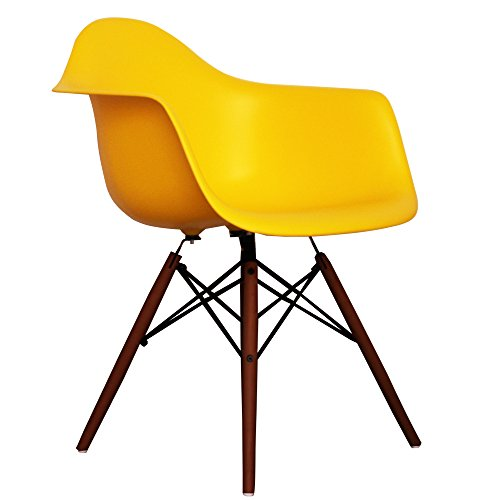 Yellow Eames Style DAW chair with walnut legs