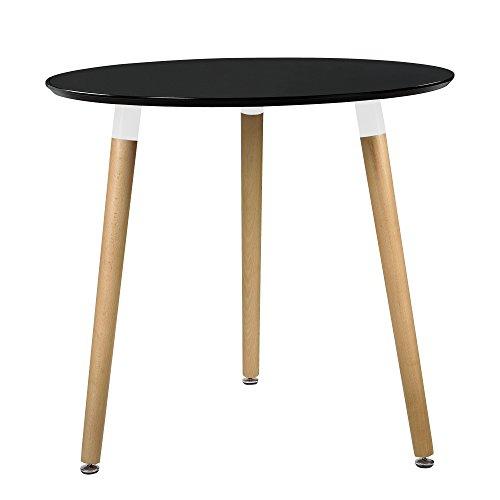 Esstisch rund schwarz  [en.casa] Esstisch Rund Schwarz [H:75cmxØ80cm] Holz Tisch Retro Küchentisch
