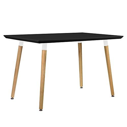 [en.casa] Esszimmertisch für 4 Stühle schwarz [120x80cm] Esszimmer Essgruppe Wohnzimmer
