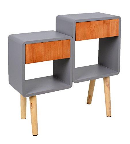 ts-ideen Regal Schrank Kommode im Cube Retro Design für Wohnzimmer Kinderzimmer Schlafzimmer Bad Nachttisch Standregal in Grau und Holz