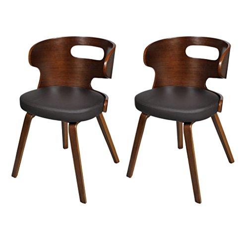 vidaXL 2 x Ledermixmixstühle Sessel Esszimmerstühle Sperrholz Ledermix Stuhl Stühle braun
