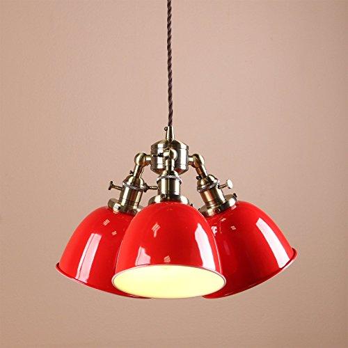 Buyee® Modern Vintage Industrial Metal Lampe Edison-Lampe Retro Lampe Shade 3 Leuchten Loft Coffee Bar Küchenhängependelleuchte Lampen Licht ( rot Farbe )