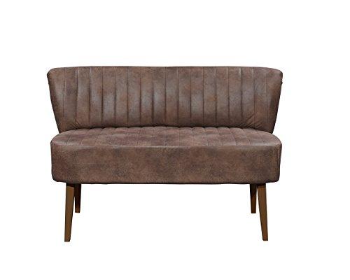 Diningbank in braunem Microvelour im Vintage-Look bezogen, Polster im Sitz bestehend aus einer Nosagunterfederung, Maße: B/H/T ca. 143/87/69 cm