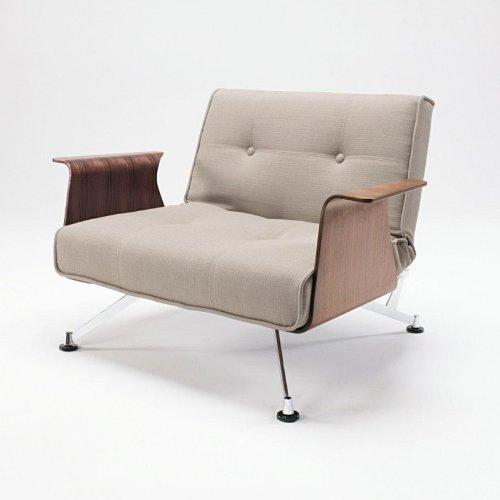 Innovation Clubber 03 Sessel, grau Stoff Armlehnen walnuß Liegefläche 114x90cm