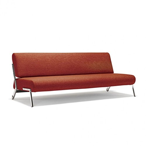 Innovation Debonair Schlafsofa, rot Gestell chrom Auflage Stoff 524 Mixed Dance