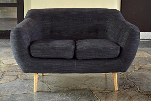 retro sofa indigo 2 sitzer stoff kohlefarben retro stuhl. Black Bedroom Furniture Sets. Home Design Ideas