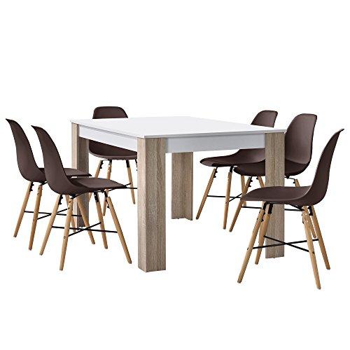 esstisch eiche wei mit 6 st hlen braun 140x90cm. Black Bedroom Furniture Sets. Home Design Ideas