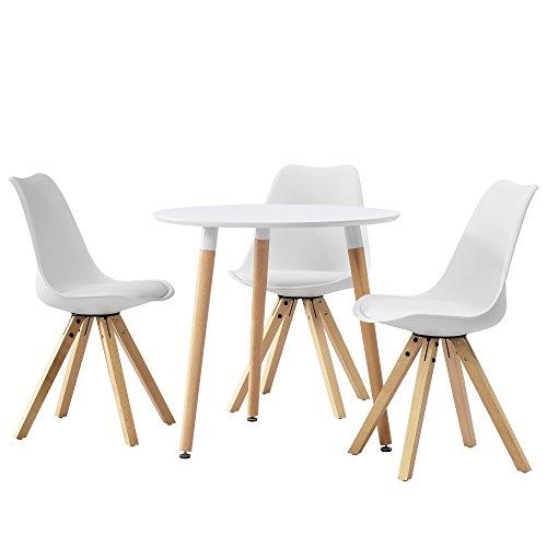 esstisch rund wei 80cm mit 3 st hlen wei. Black Bedroom Furniture Sets. Home Design Ideas