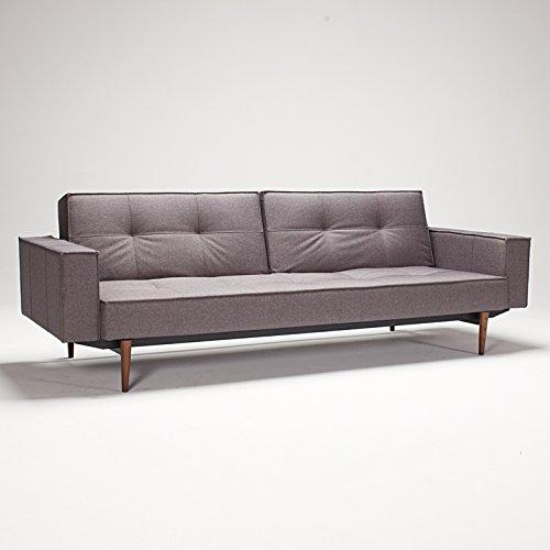SPLITBACK Sofa Klappsofa mit Armlehnen Innovation, Bezug:216 Textil Dark Grey Flashtex;Untergestell:Holz dunkel / Matt Schwarz