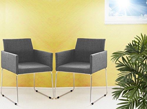 2er set konferenzstuhl armlehnstuhl stoffbezug in grau for Armlehnstuhl grau stoff