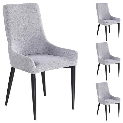 4er set esszimmerstuhl k chenstuhl stuhlgruppe essstuhl stuhl kylie stoff grau retro stuhl. Black Bedroom Furniture Sets. Home Design Ideas