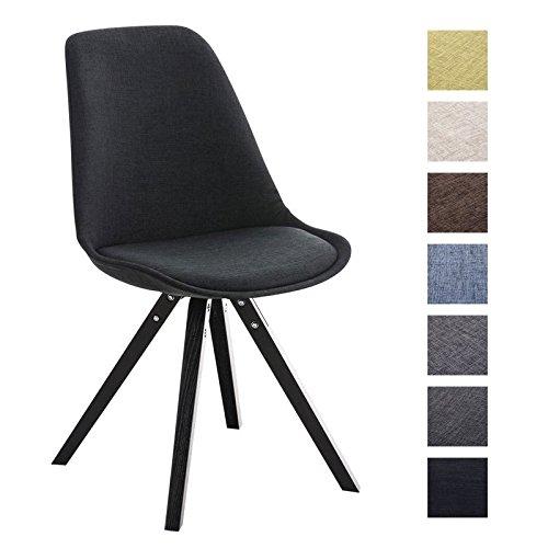 CLP Retro Stuhl PEGLEG SQUARE mit Holzgestell schwarz und Stoffsitz, Besucherstuhl im stilvollen Design, FARBWAHL schwarz